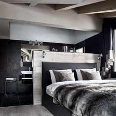 Cool Bedroom Ideas For Men With Faux Fur Bedding