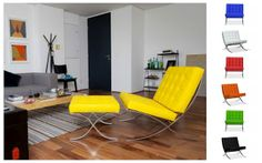 Poltrona barcelona amarela para sala.