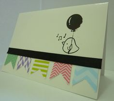 Handmade birthday card, craft, cute, bird, balloon, bunting, fun, rainbow