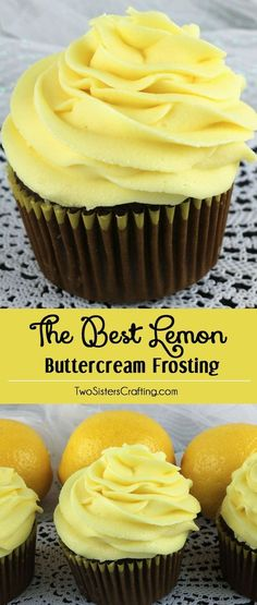 When life gives you lemons, make this delicious Best Lemon Buttercream Frosting. Bright, fresh, creamy and lemony. This is a traditional homemade lemon butter cream frosting that everyone will love. And it is so easy to make. This tasty frosting will mak Lemon Desserts, Lemon Recipes, Just Desserts, Baking Recipes, Delicious Desserts, Dessert Recipes, Health Desserts, Delicious Cookies, Summer Recipes