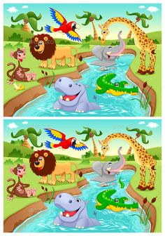 Buy Spot the Differences by ddraw on GraphicRiver. Spot the Differences. Two images with six changes between them, vector and cartoon illustrations. Find The Difference Pictures, Spot The Difference Puzzle, Spot The Difference Printable, Kids Learning Activities, Preschool Worksheets, Quiet Time Activities, Spanish Activities, Language Activities, Educational Activities