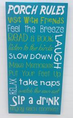 Porch Rules Hand Painted Wood Sign, Make Memories sign, Visit with Friends, Feel the Breeze, Take Naps