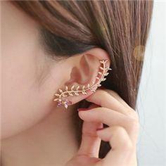 New Vintage Liść z Kryształowej Kobiet mankietów uszu