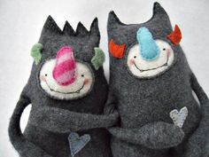 Softies! :upcycled jumper/sweater monsters great little boys plushie soft toy like where the wild things are