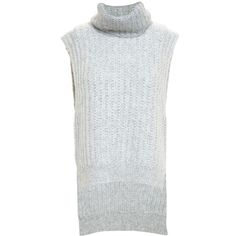 3.1 Phillip Lim Sleeveless Roll Neck Knit (435 PLN) ❤ liked on Polyvore featuring tops, sweaters, grey, knit sweater, grey sweaters, sleeveless crop top, grey cropped sweater and slouchy knit sweater