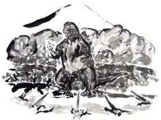 Gojira in Sumi-e - Kaiju - Godzilla - Original 11 x 14 Sumi-e Painting