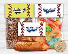 *********+********* Size: x when folded) ******************** ******************** HOW TO USE: Designed to perfectly fit 4 wide cellophane treat bags (usually available at Michaels craft stores or WalMart). Softball Treats, Baseball Treats, Softball Party, Baseball Gifts, Baseball Party, Girls Softball, Baseball Mom, Softball Stuff, Baseball Stuff