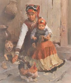 Mian Situ oil painting, One Shoe Off, Asian woman holding child ...