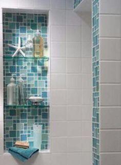Tiled alcove adding a splash of color with white tiles (beach house bathroom ) Coastal Bathrooms, Beach Bathrooms, Aqua Bathroom, Beachy Bathroom Ideas, Beach House Bathroom, Sea Theme Bathroom, Master Bathroom, Blue Small Bathrooms, Colorful Bathroom