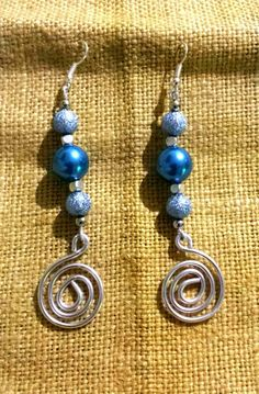 Orecchini wire blu Earings wire blue
