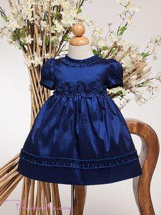 Navy Blue Elegant Short Sleeve Baby Girl Dress