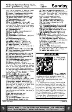 "Vintage Toledo TV - Random Pages - Sunday, 4/19/98 TV Guide Magazine page 99 (Toledo-Lima edition) Includes some 11-11:35 PM listings and a ""close-up"" for Ultra Sound, ""I Was an MTV VJ"" (Alan Hunter, J.J. Jackson. Martha Quinn, Mark Goodman and Nina Blackwood)."