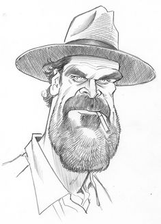 "Continuing with my series of ""Stranger Things"" sketches, here is Chief Jim ""Hop"" Hopper as portrayed by David Harbour! Incidentally, I have not been adding my weekly sketche…"