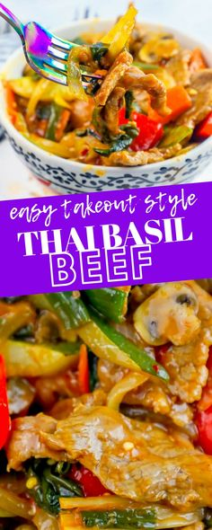 The Best Easy Thai Basil Beef Stir Fry Recipe - Takeout style Thai basil beef stir fry recipe that tastes just like it's from your favorite Thai Food Restaurant but takes less time than driving to pick it up! Stir Fry Recipes, Beef Recipes, Healthy Recipes, Skillet Recipes, Cooking Recipes, Thai Cooking, Easy Cooking, Cooking Game, Quick Easy Meals