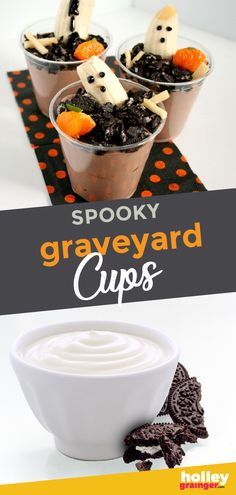 Graveyard Ghost Cups - Holley Grainger, MS, RD - Spooky Graveyard Ghost Cups are a nutritious and fun Halloween snack–just don't tell your littl - Halloween Snacks, Halloween Treats For Kids, Spooky Treats, Halloween Recipe, Halloween Games, Healthy Diet Recipes, Healthy Meals For Kids, Kids Meals, Healthy Snacks