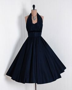 Vintage Fashion: beautiful vintage navy halter gown.