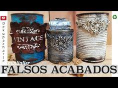 MINITALLER DE FALSOS ACABADOS - YouTube Pots, Tin Art, Chalk Paint, Pasta Das, Upcycle, Diy And Crafts, Recycling, Shabby Chic, Wall Decor