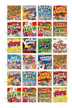 Kiddie Cereals... Scrabble Tile Images Collage Sheet for Pendants ...Buy 3 get 1 on Etsy, ¥186