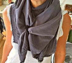 A personal favorite from my Etsy shop https://www.etsy.com/il-en/listing/278960924/grey-scarf-100-cotton-silk-touchcupro