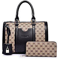 Women Handbag,Women Bag, KINGH Vintage PU Leather Shoulder Bag Purse 2 PCS Set Bag 089 Black