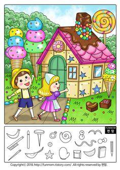 집중력 놀이 숨은 그림 찾기 어린이들의 집중력을 높여줄수있는 엄마표 놀이 숨은그림찾기 프린트입니다 헨젤과 그레텔 동화속의 한 장면을 숨은 그림 찾기 도안으로 제작하였습니다 헨젤과 그레텔이 숲속을 헤메.. Art Drawings For Kids, Easy Drawings, Art For Kids, Crafts For Kids, Hidden Images, Hidden Pictures, Preschool Math, Preschool Worksheets, Hidden Objects