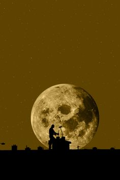 """An image called """" chimney sweep silhouette on the rooftop against full moon """"…"""