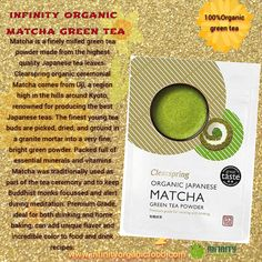 infinity organic matcha green tea Matcha is a finely milled green tea powder made from the highest quality Japanese tea leaves. Clearspring organic ceremonial Matcha comes from Uji, a region high in the hills around Kyoto, renowned for producing the best Japanese teas. The finest young tea buds are picked, dried, and ground in a granite mortar into a very fine, bright green powder. Organic Matcha Green Tea, Green Tea Powder, Bright Green, Organic Recipes, Teas, Kyoto, Granite, Infinity, Japanese
