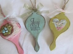 Wooden Shabby Chic Christmas Ornaments X 3 by GTcottagecrafts