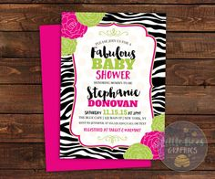Zebra Baby Shower Invitations baby girl by LittleBeesGraphics