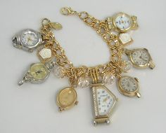 Handmade Charm Watch Bracelet Gold Metal Chain Link Swarovski Crystals Vintage Time Pieces One Of A Kind Exclusively Designed by Sisters 3 and Me. Vintage Jewelry Crafts, Old Jewelry, Charm Jewelry, Jewelry Art, Antique Jewelry, Beaded Jewelry, Fine Jewelry, Handmade Jewelry, Jewelry Design
