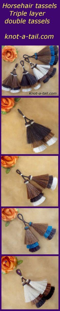 horsehiar tassels /double tassel triple layer horse hair tassel