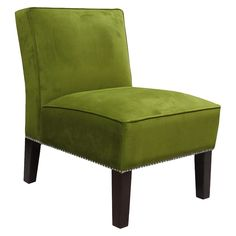 Armless Upholstered Chair - Green/Silver, Apple