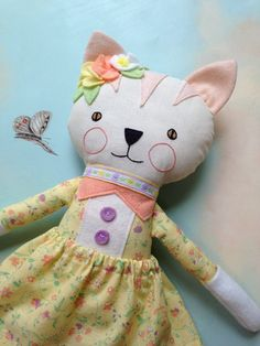 Cat Doll / Handmade Cat Ragdoll / Kitty Cat by CarolinaMoonMoppets