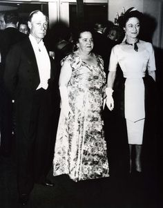 The Duke and Duchess of Windsor with Elsa Maxwell at the Waldorf Astoria for the April in Paris Ball.