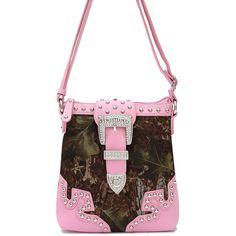 Western Cowgirl Camouflage Print Rhinestone Belt Deco Messenger Bag #GetEverythingElse #MessengerCrossBody