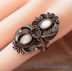 Vintage Native American Navajo A. Cadman Sterling Silver Pearl Ring Size 6