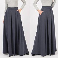 Gray Winter Maxi Skirt Warm Woman Long Skirt Custom made gray skirt Maxi Skirt Outfit Summer, Maxi Skirt Winter, Jean Skirt Outfits, Cute Maxi Dress, Womens Maxi Skirts, Long Skirts For Women, How To Make Skirt, Gray Skirt, Ladies Dress Design