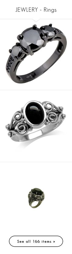 """JEWLERY - Rings"" by ashleythesm ❤ liked on Polyvore featuring jewelry, rings, gold engagement rings, 3 stone engagement rings, gold ring, round engagement rings, cubic zirconia wedding rings, sterling silver rings, black onyx jewelry and sterling silver jewelry"