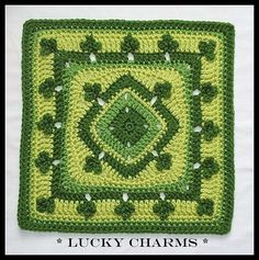 Lucky Charms granny square pattern by Donna Kay Lacey on Ravelry Grannies Crochet, Crochet Squares Afghan, Crochet Motifs, Granny Square Crochet Pattern, Crochet Blocks, Irish Crochet, Crochet Afghans, Crochet Stitches, Crochet Patterns