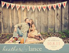 For spicing up the look of traditional engagement photo save the dates