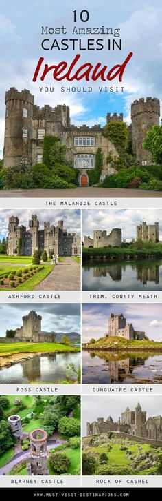 Ireland is home to some of the most beautiful medieval castles in the world. Discover 10 Most Amazing Castles in Ireland You Should Visit! Ireland Castles, Castles In Wales, Castles In England, Best Of Ireland, Food In Ireland, Galway Ireland, Ireland Homes, England Ireland, Traveling To Ireland