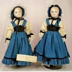 "a Jo loved to pair her dolls so that they always had a friend. ""Marianna"" and ""Glenda"" are identical twins made in 1963 by the renowned artist Magge Head (before she added Kane to her last name). They're from the 1964 UFDC convention and are"