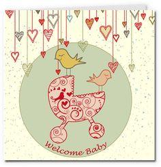 free printable baby cards - pram girl