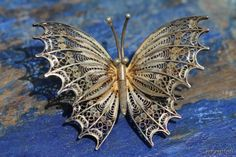 Vintage 1960's 800 Silver Filigree Butterfly Pin Brooch.