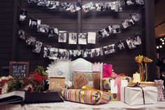 Love the couple photo garland at the wedding gift table, so cute