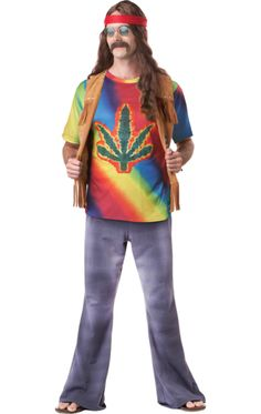 The Adult Psychedelic Hippie Costume includes a pair of brown hippie trousers plus an excellent multicoloured floral pattern shirt. 80s Dress, Costume Dress, Dress Up, Joker Costume, Halloween Costumes, Hippie Style, Costume Hippie, 60s Hippies, Hippie Party