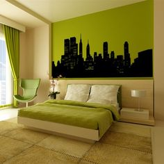 A green bedroom - unusual colour scheme, really cool!