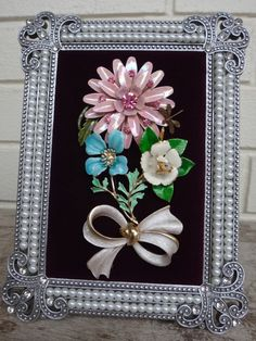 Framed Jewelry Art . Floral Arrangement . Unique Keepsake . All Occasion Gift . Vintage Jewelry - pinned by pin4etsy.com