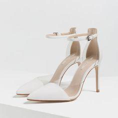 white and vinyl heels