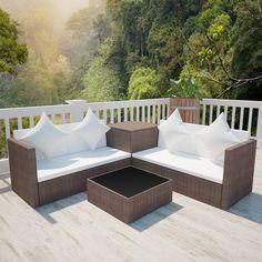 vidaXL Conjunto de salón marrón de ratán PE con baúl de almacenaje - Jardines y piscinas